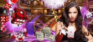 Casino chips, dice, roulette and cards, plus female