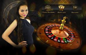 female and roulette table