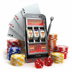 mobile slot and casino chips and dice plus cards