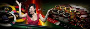 female with casino chips